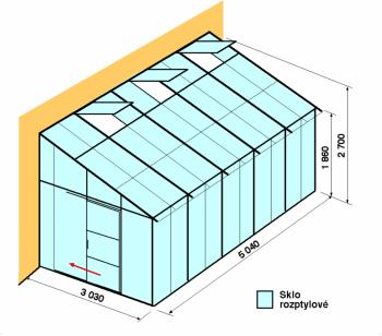 Skleník ke zdi DA3-5m-zasklení D