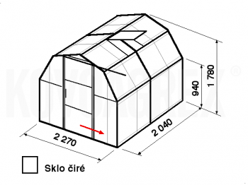 Skleník BA3-2m-zasklení B - cena včetně montáže