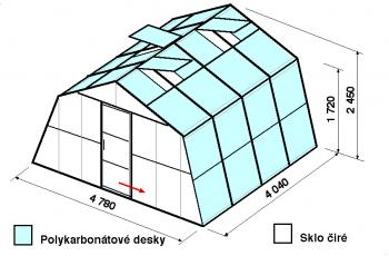 Skleník SA3-4m-zasklení A
