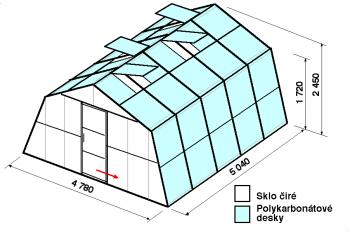 Skleník SA3-5m-zasklení A
