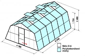 Skleník SA3-6m-zasklení A