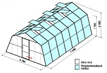 Skleník SA3-7m-zasklení A