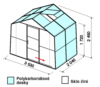 Skleník SA2-2m-zasklení A