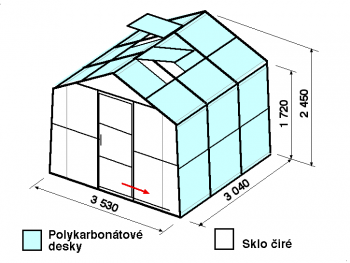 Skleník SA2-3m-zasklení A