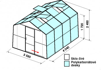 Skleník SA2-4m-zasklení A