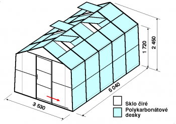 Skleník SA2-5m-zasklení A