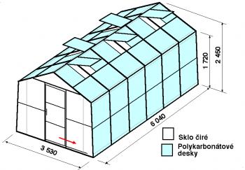 Skleník SA2-6m-zasklení A