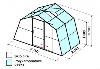Skleník SA1-2m-zasklení A