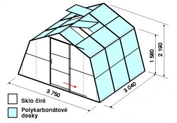 Skleník SA1-3m-zasklení A