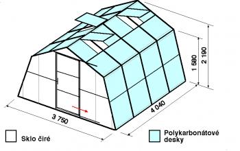 Skleník SA1-4m-zasklení A