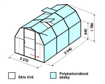 Skleník BA3-3m-zasklení A - cena včetně montáže