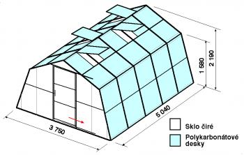 Skleník SA1-5m-zasklení A