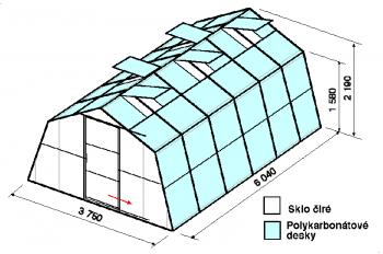 Skleník SA1-6m-zasklení A
