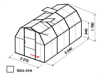 Skleník BA3-3m-zasklení B