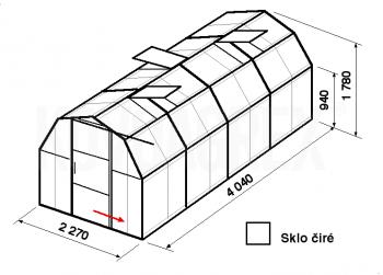 Skleník BA3-4m-zasklení B - cena včetně montáže