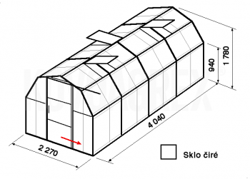 Skleník BA3-4m-zasklení B