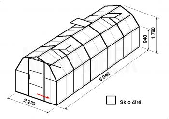 Skleník BA3-5m-zasklení B