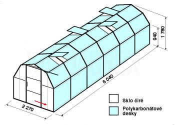 Skleník BA3-6m-zasklení A