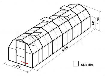 Skleník BA3-6m-zasklení B