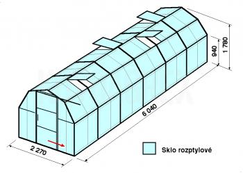 Skleník BA3-6m-zasklení D - cena včetně montáže