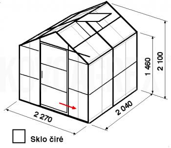 Skleník GA3-2m-zasklení B - cena včetně montáže