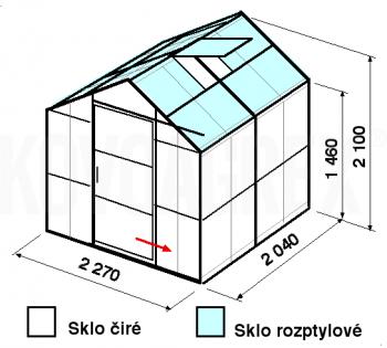 Skleník GA3-2m-zasklení C - cena včetně montáže