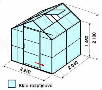 Skleník GA3-2m-zasklení D - cena včetně montáže