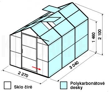 Skleník GA3-3m-zasklení A