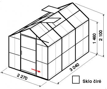 Skleník GA3-3m-zasklení B