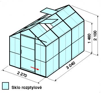 Skleník GA3-3m-zasklení D