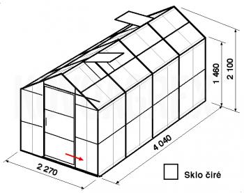 Skleník GA3-4m-zasklení B