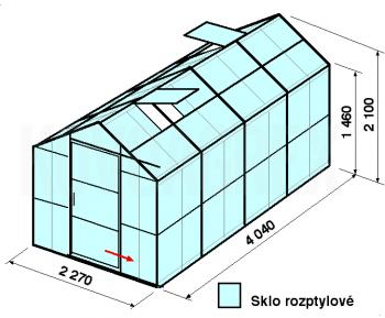 Skleník GA3-4m-zasklení D