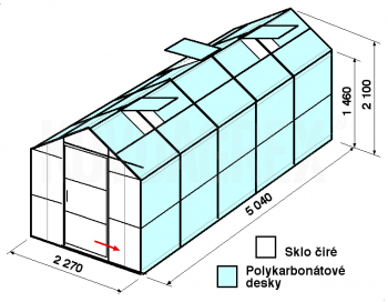 Skleník GA3-5m-zasklení A