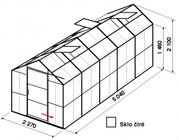 Skleník GA3-5m-zasklení B