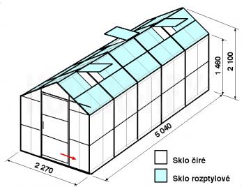 Skleník GA3-5m-zasklení C - cena včetně montáže