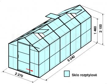 Skleník GA3-5m-zasklení D