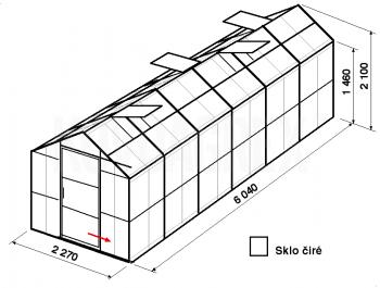 Skleník GA3-6m-zasklení B - cena včetně montáže