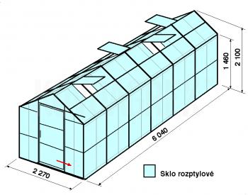 Skleník GA3-6m-zasklení D