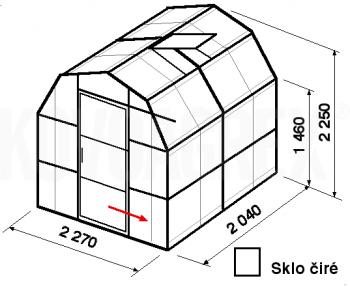 Skleník VA3-2m-zasklení B