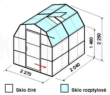 Skleník VA3-2m-zasklení C - cena včetně montáže