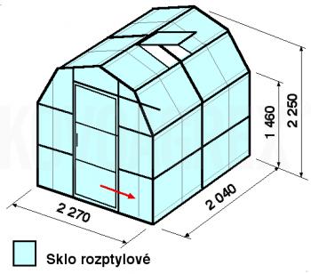Skleník VA3-2m-zasklení D - cena včetně montáže