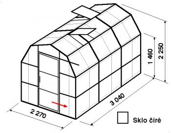 Skleník VA3-3m-zasklení B - cena včetně montáže