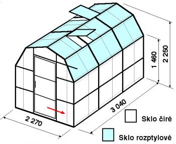 Skleník VA3-3m-zasklení C