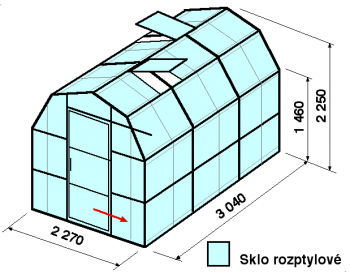 Skleník VA3-3m-zasklení D - cena včetně montáže