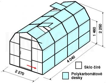 Skleník VA3-4m-zasklení A