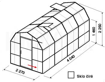 Skleník VA3-4m-zasklení B