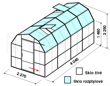 Skleník VA3-4m-zasklení C